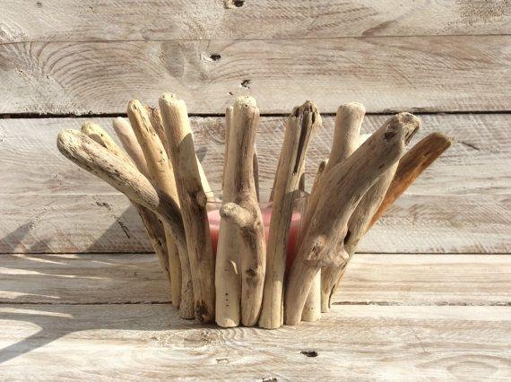 Sostenedor de vela de madera por Longshoredriftwood en Etsy