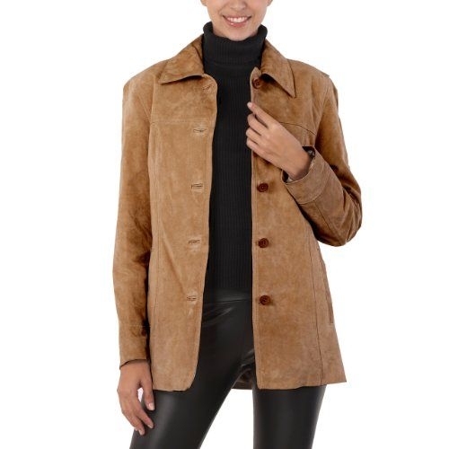 BGSD Women`s Classic Suede Leather Car Coat in Brandy, Brown, or ...