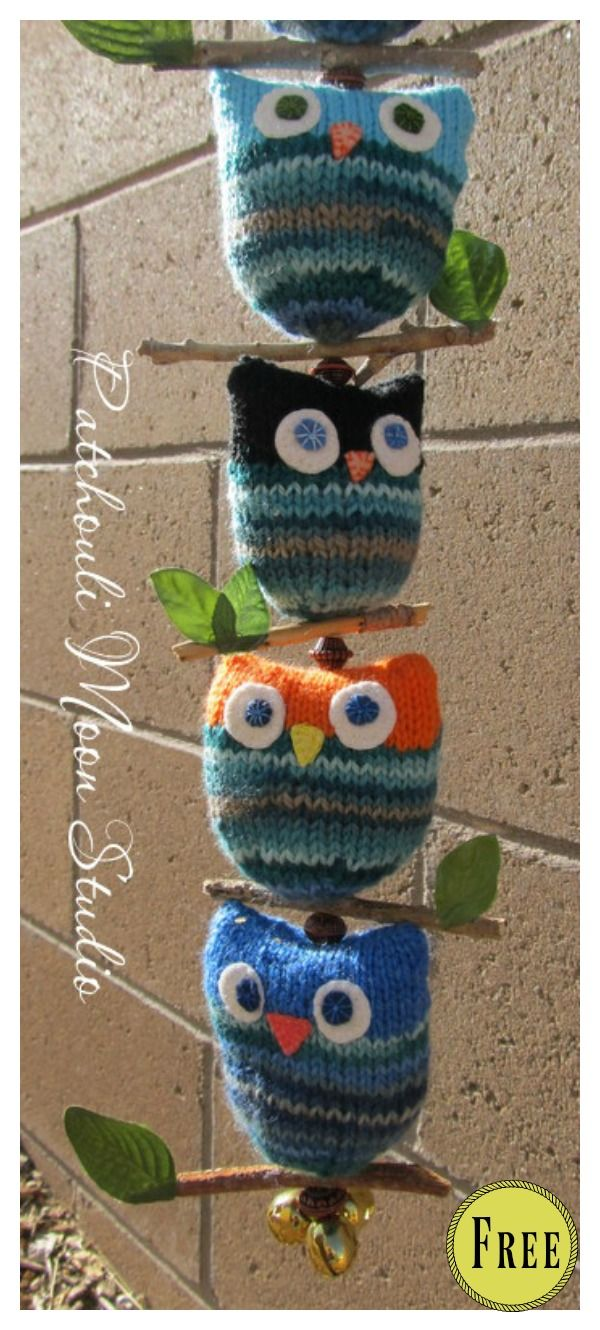 8 Adorable Puff Owl Free Knitting Pattern #knittedtoys