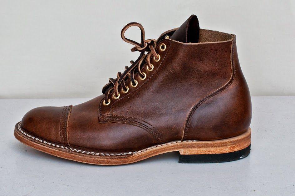 Viberg 1950 Service Boot Icy Mocha CXL Brogue Toe Cap 8 Eyelets (Brass) Brown Thread Natural  Midsole/Edge   2030 Last  Box Toe