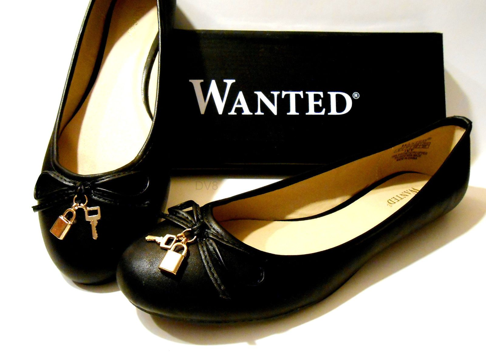 """Wanted Ballet Flats """"Ivy"""" Black Classic Style w Lock and Key Charms New w Box 