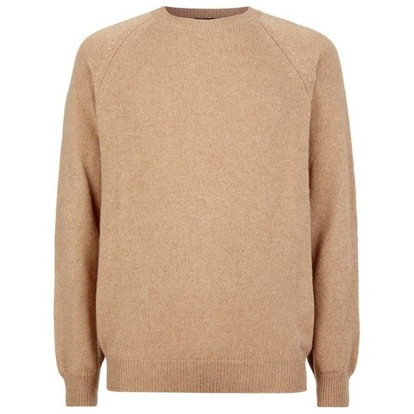 APC Camel Hair Sweater ($260) ❤ liked on Polyvore featuring mens, men's clothing and men's sweaters