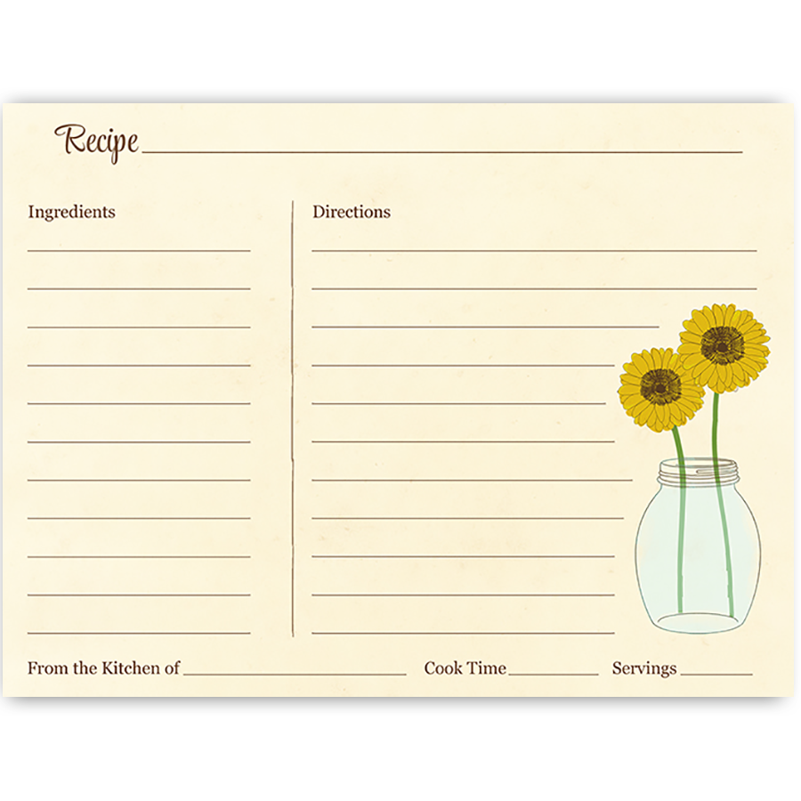 Sunflower Mason Jar Recipe Card | Bridal showers, Recipe cards and ...