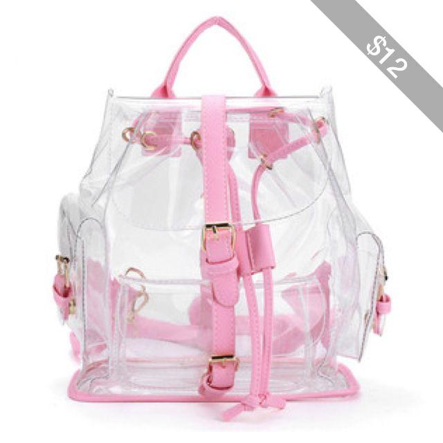 Women Clear Backpack Cute Plastic Transparent School Bag