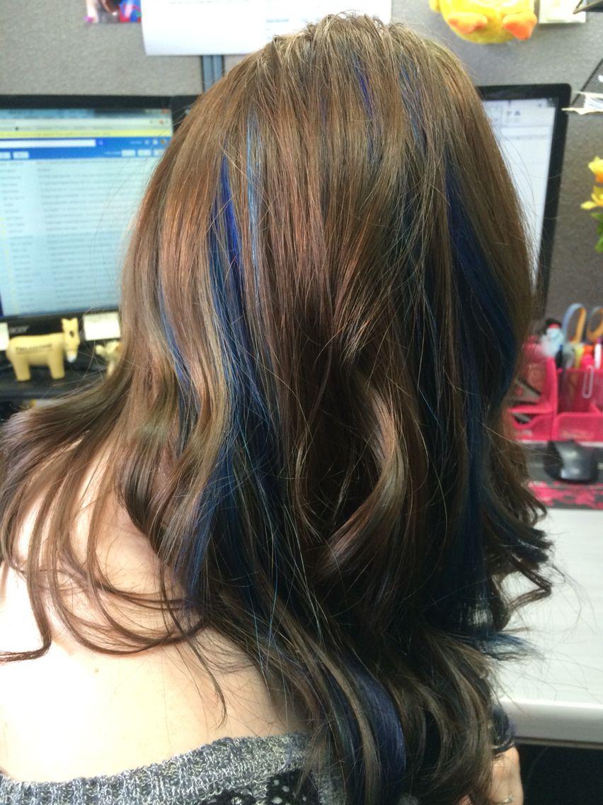 Blue Peekaboo Highlights Hair Highlights Peekaboo Hair