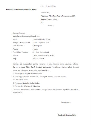 Contoh Surat Lamaran Kerja Via Email Bank Syariah Contoh Surat Lamaran Kerja Via Email Http Contohsuratlamara Riwayat Hidup Surat Kerja