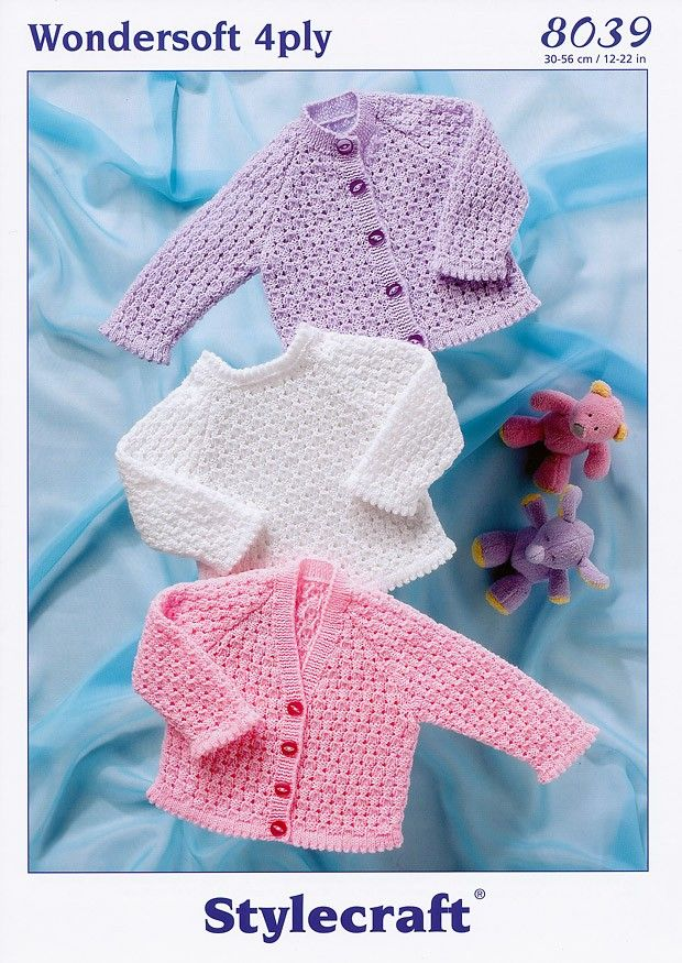 Prem - 2 years Stylecraft 4ply Baby Knitting Pattern Cardigans /& Sweater