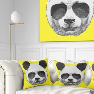 Designart 'Funny Panda with Sunglasses' Animal Throw Pillow (Square - 18 in. x 18 in. - Medium), White, DESIGN ART(Polyester)