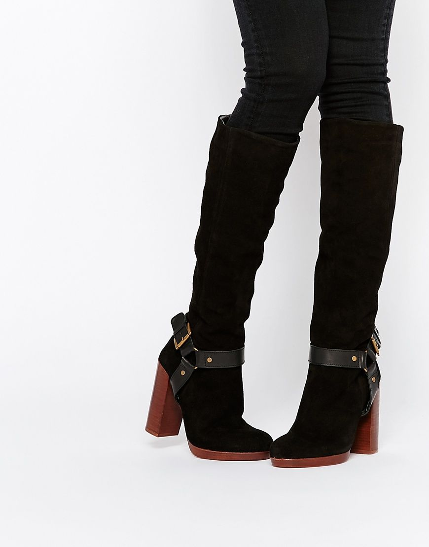 Kurt Geiger, you've knocked it out of the park with these knee high, buckle and suede boots.