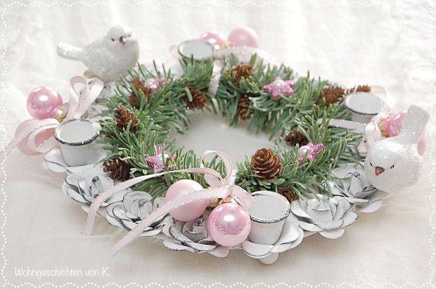 adventskranz adventskranz rosa shabby chic weihnachten. Black Bedroom Furniture Sets. Home Design Ideas