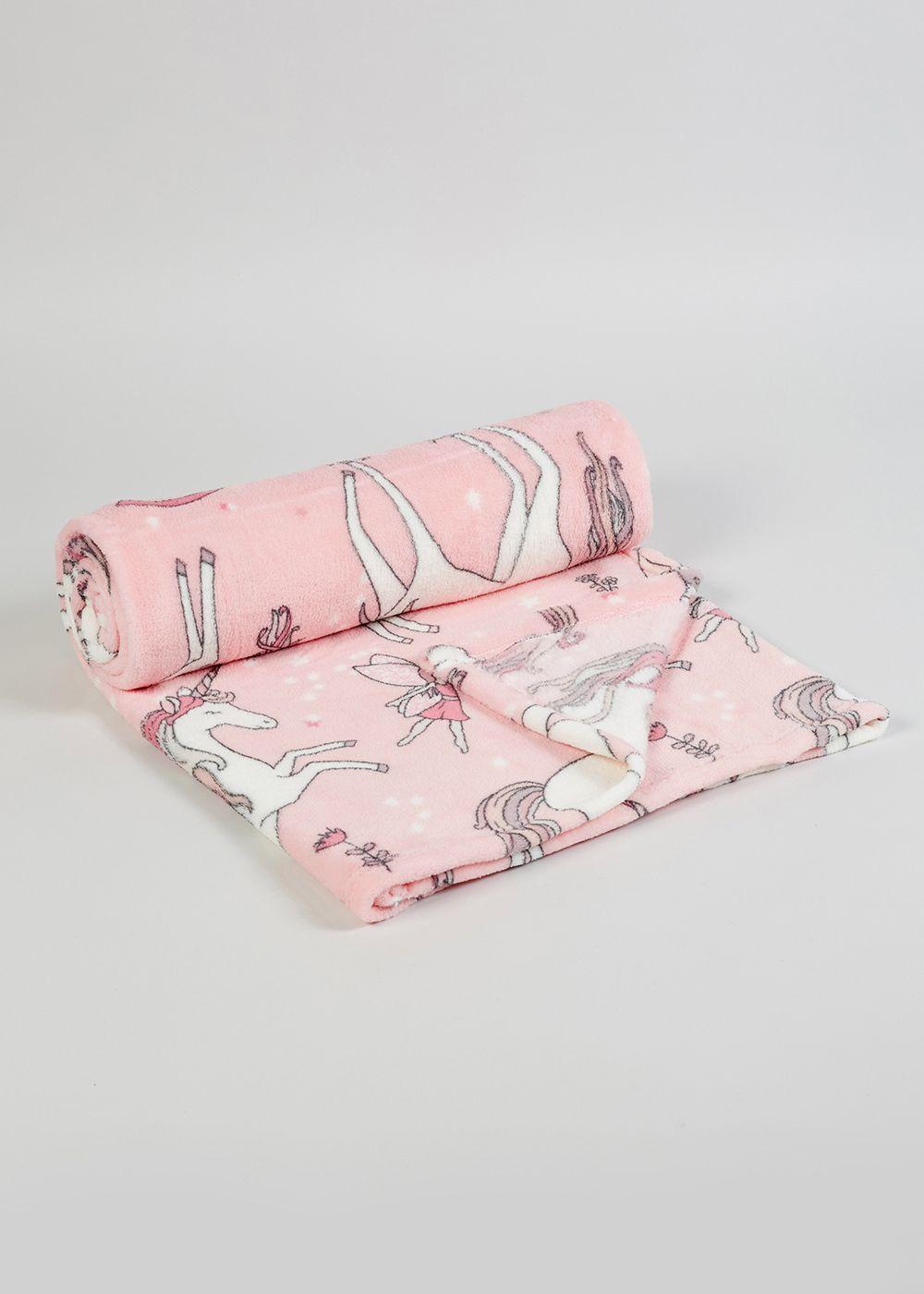 Unicorn Print Fleece Throw 150cm X 130cm Pink Fleece