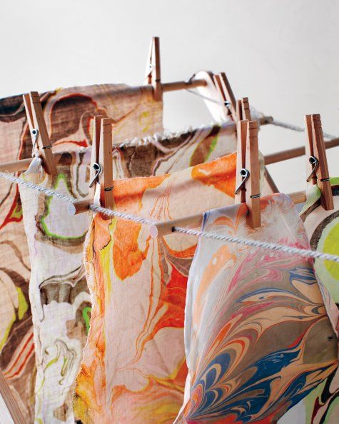 The Method Of Marbling Fabric Painting Twine Diy Crafts