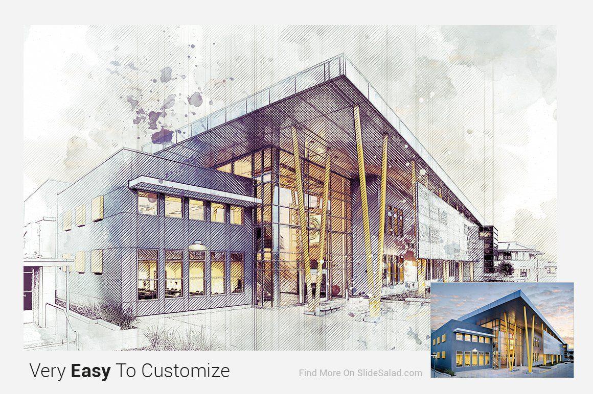 Architecture Sketch Photoshop Action S Izobrazheniyami Gorodskaya