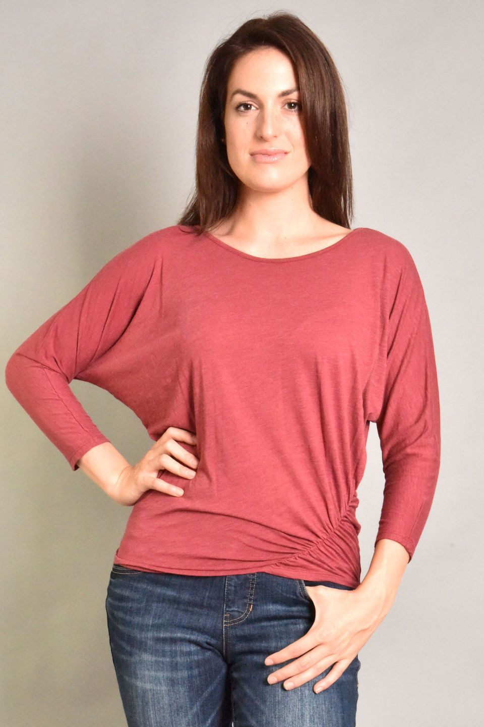 Fresh Laundry Dolman Ruched Top