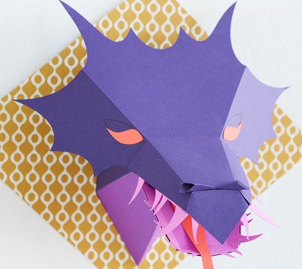 3d dragon head paper cutting template available with the for Cardboard dragon template