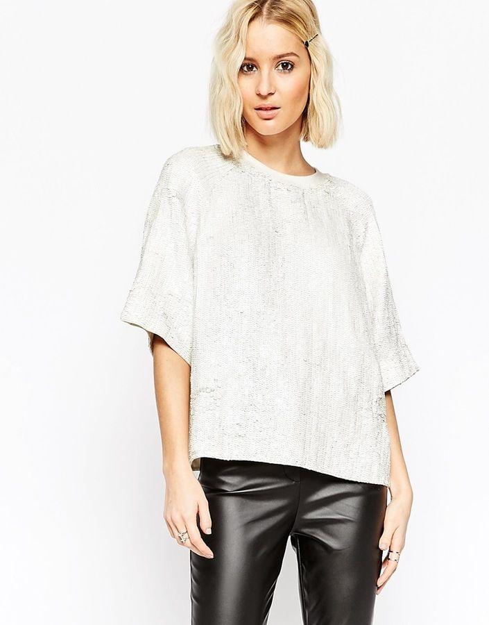 52fb4f539cf0c8 Asos Glitter Sequin White Sweat T - Shirt