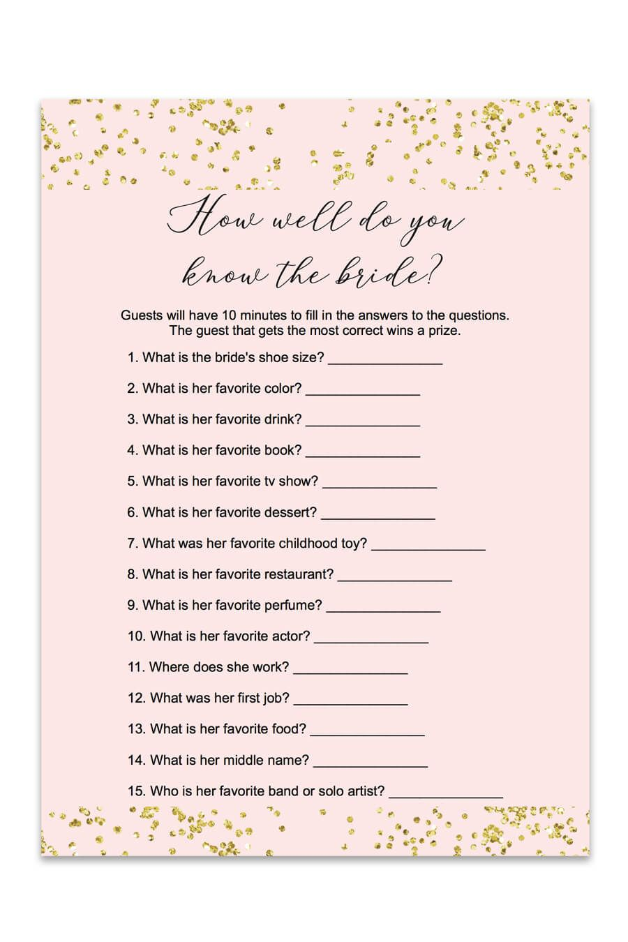 graphic regarding Free Printable Bridal Shower Cards identified as Blush and Confetti How Effectively Do Yourself Notice The Bride Match