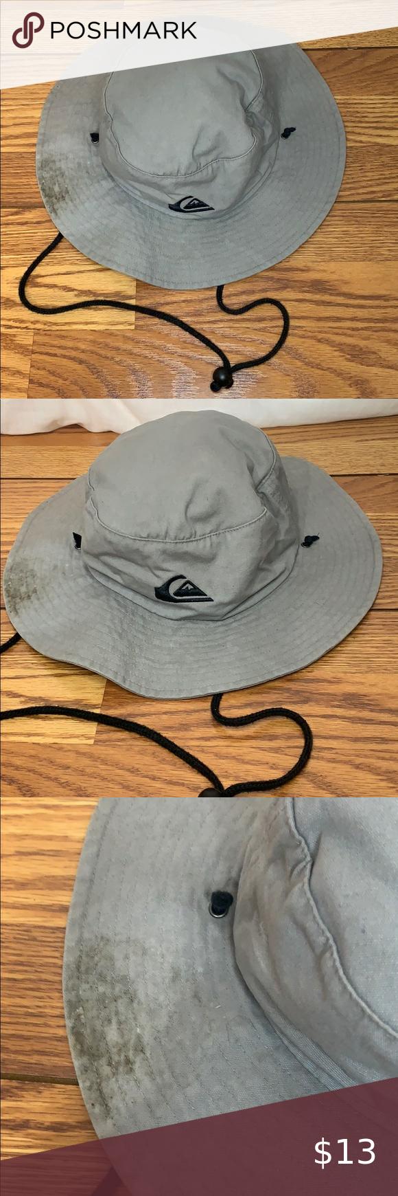 Quicksilver Gray Bucket Fishing Hat Size L Xl Hat Sizes Fishing Hat Hats For Men