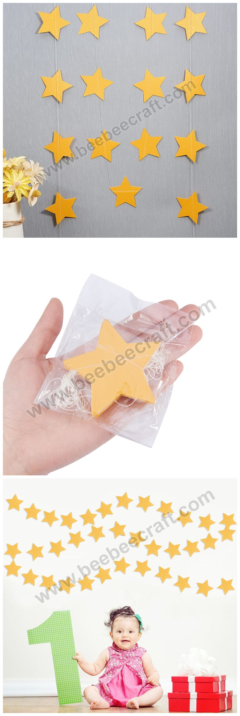 #BENECREAT 52 Feet  Star Paper Garland Whaling Bunting Banner #HangingDecoration about 92 Stars party