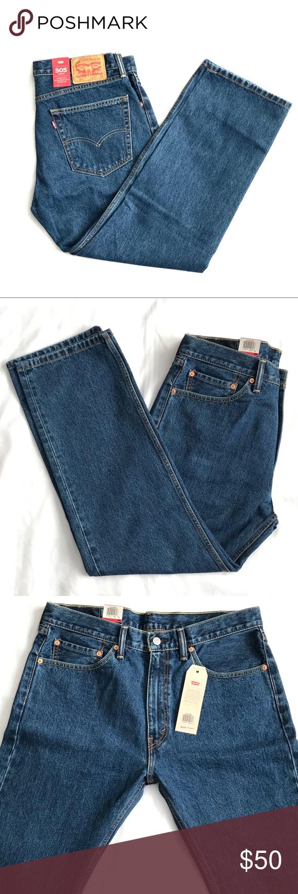 3ab290b5 Levis 505 Regular Fit Straight Leg Jeans Dark 36 Levi's 505 Dark Stonewash  Mens Size 38 x 30 Waist - 36