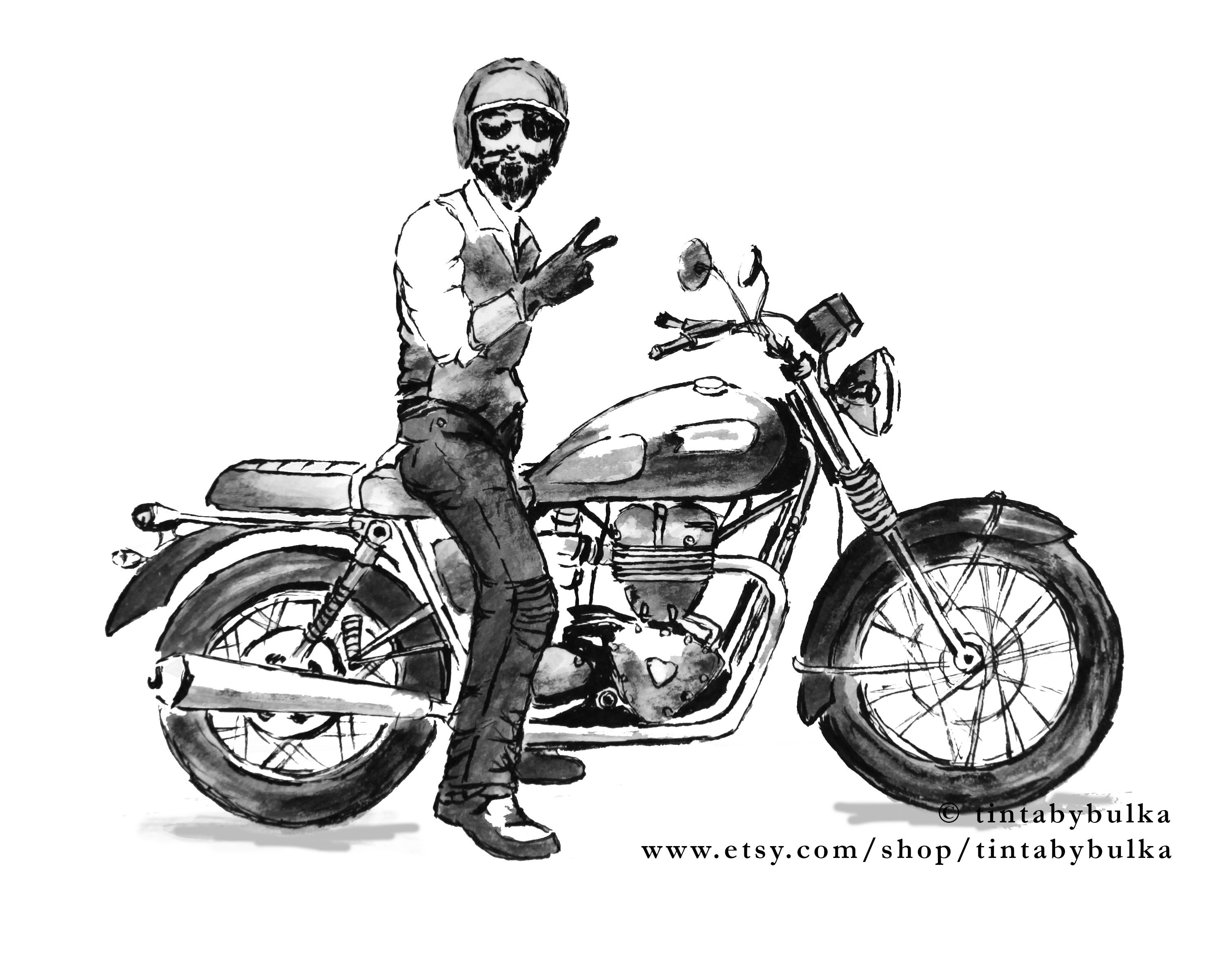 Motorcycle Gifts Motorcycle Art Motorcyclist Gift