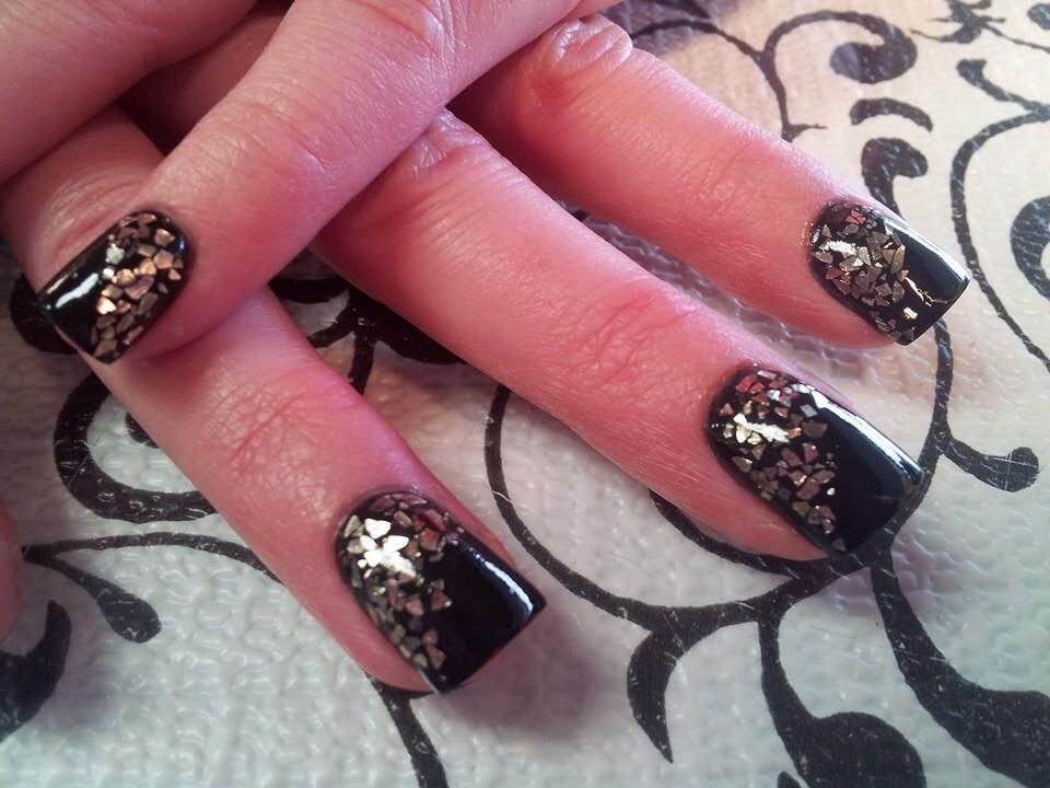 Black acrylic with silver flakes!! Love these nails!!