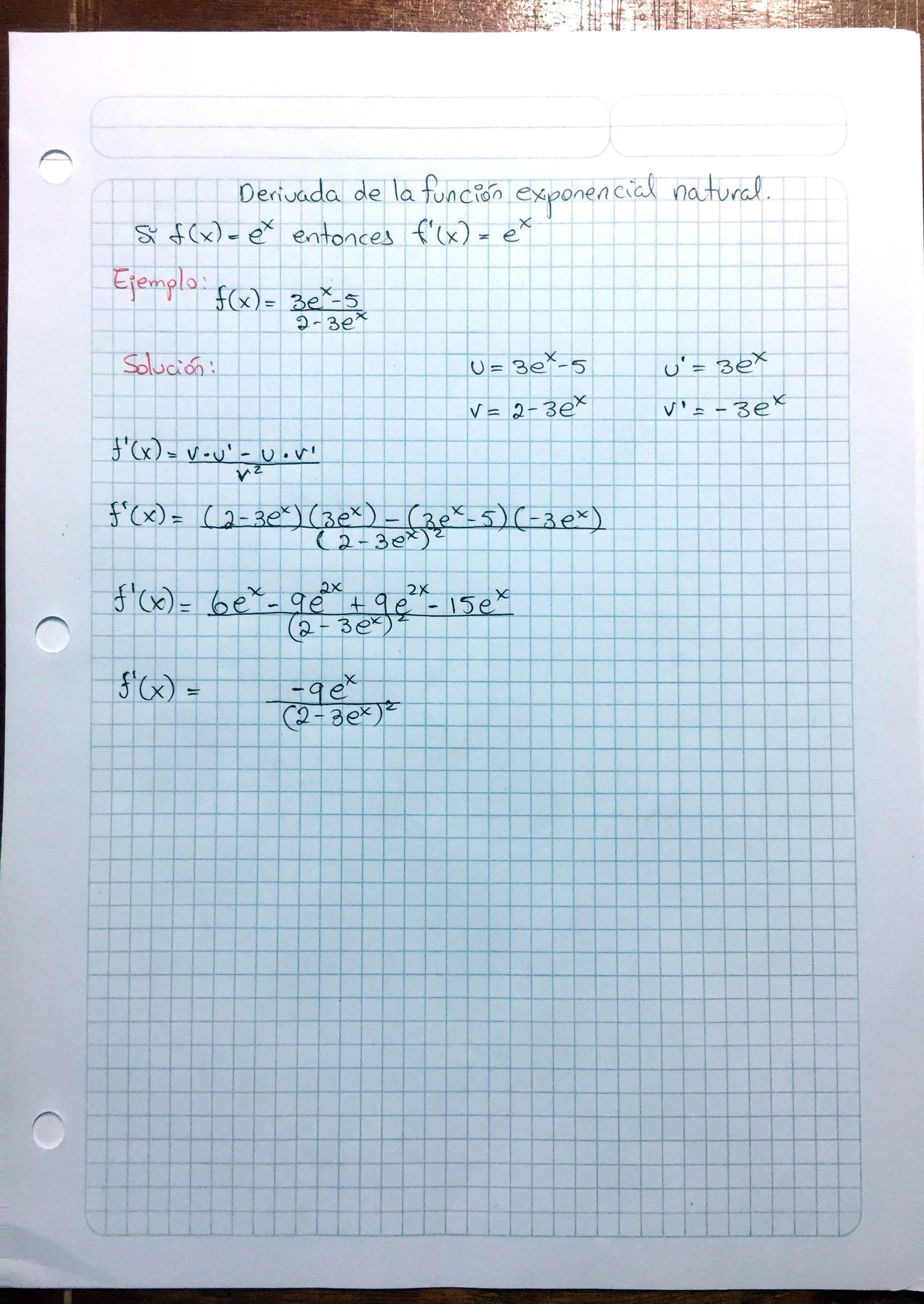 ejemplo de derivada función exponencial natural   calculo ...