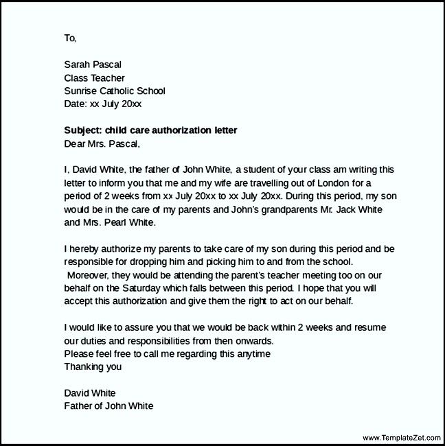 child care authorization letter Child Care Authorization Form Letter (with Sample) | child care ...