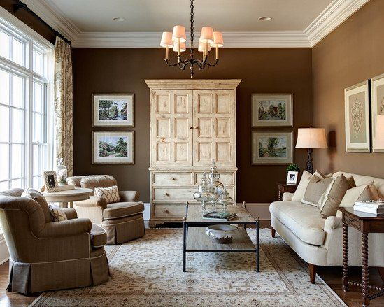 wall color sherman williams tea chest traditional living room by carolina design associates llc - Traditional Living Room Design Ideas