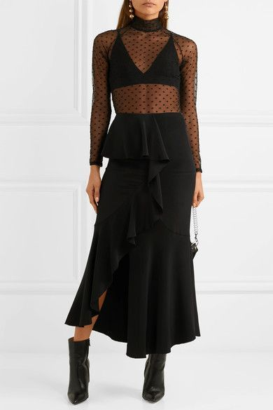 7ad5b766e4 Fleur Du Mal - Polka Dot-embroidered Stretch-tulle Bodysuit - Black ...