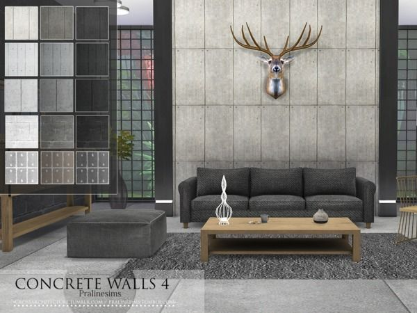 Concrete Walls 4 by Pralinesims at TSR via Sims 4 Updates