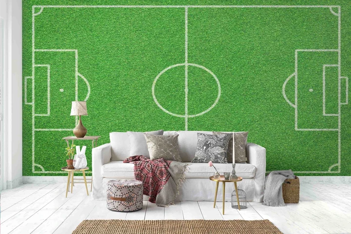 Football Pitch Wall Mural Wallpaper Ws 42395: 3D Green Football Field Wall Mural Wallpaper 121 In 2020