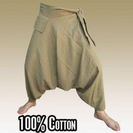 Aladinhose mit kleiner Vordertasche / seitlich zum Zubinden - Khaki - Freesize