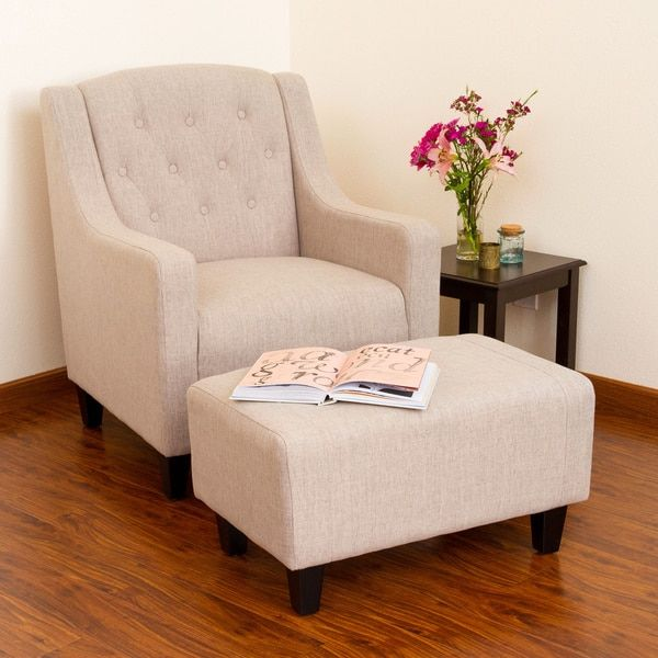 Beau This Tufted Fabric Club Chair Provides Stylish Comfort In A Stunning Accent Chair  Set. The Chair And Ottoman Set Features Espresso Stained Legs For A Touch  ...