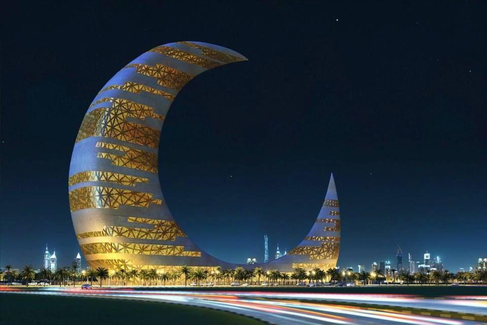 Dubai Moon Building Night Lights Travel Cityscape Places Architecture