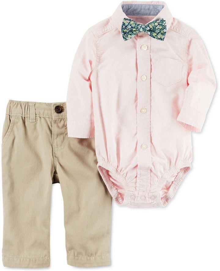 Carters 3-Pc. Bowtie, Shirt Bodysuit  Twill Pants Set, Baby Boys (0-24 months) ...repinned vom GentlemanClub viele tolle Pins rund um das Thema Menswear- schauen Sie auch mal im Blog vorbei www.thegentemanclub.de