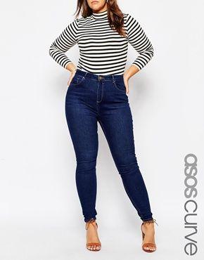 ASOS CURVE - Lisbon - Jean skinny taille mi-haute à délavage Tyne - Bleu 716c9e55b06d