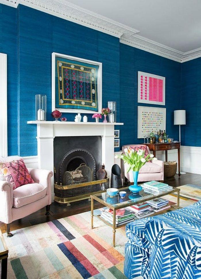 1001 ideas sobre colores para salones y c mo pintar la for Alfombra azul turquesa del dormitorio