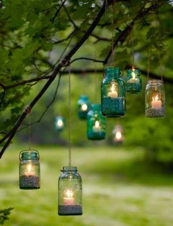 Eine Wirkungsvolle Gartenbeleuchtung Baum Garten Faden Glas
