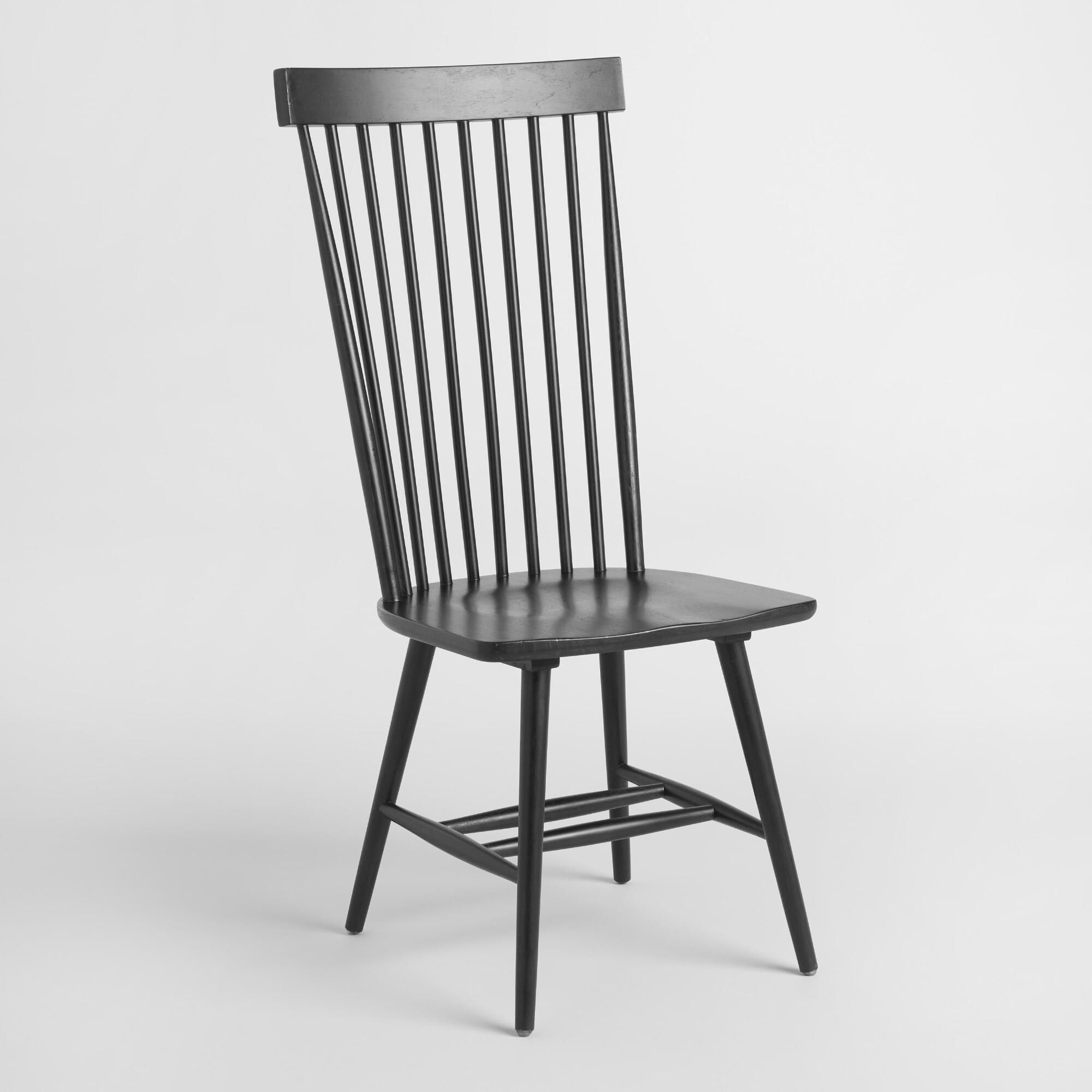 Black wood kamron high back windsor chairs set of 2 by