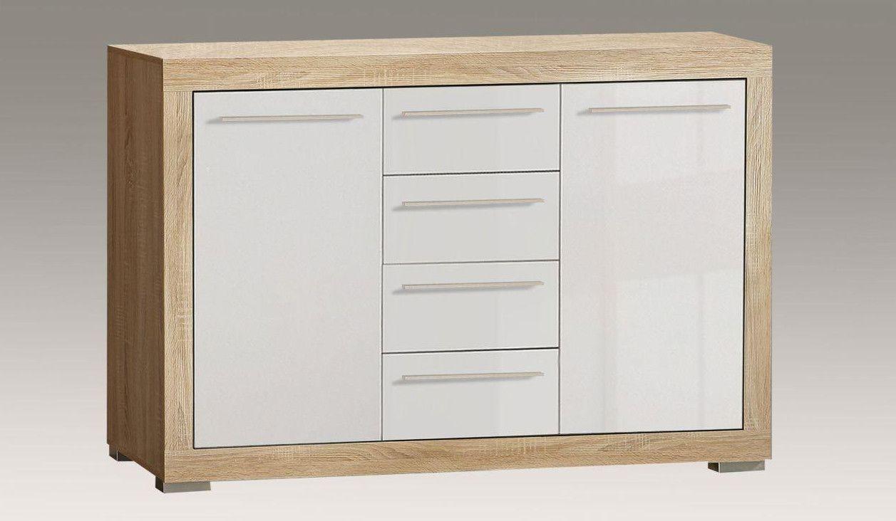 Kommode In Sonoma Eiche / Weiss Hochglanz Woody 77-00204 Holz modern Jetzt bestellen unter: https://moebel.ladendirekt.de/wohnzimmer/schraenke/kommoden/?uid=8cfd5d56-2784-5736-802f-fd9a74384b74&utm_source=pinterest&utm_medium=pin&utm_campaign=boards #schraenke #kommoden #wohnzimmer