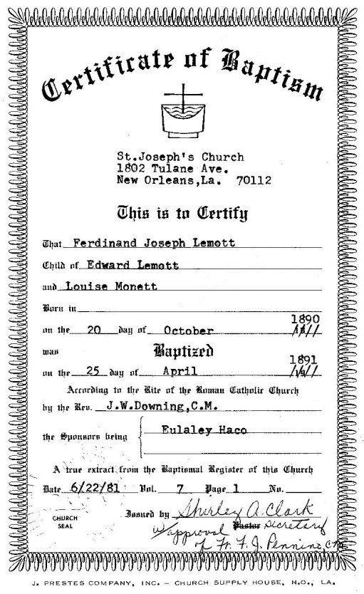 Blank certificate of origin best 25 certificate of origin ideas certificate of baptism st josephu0027s church new orleans la blank certificate of origin yadclub Choice Image