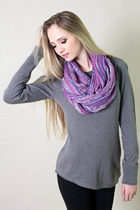 Anika Dali Women's Festival Bliss Shimmer Boho Infinity Scarf (French Lilac Purple) at Amazon Women's Clothing store:
