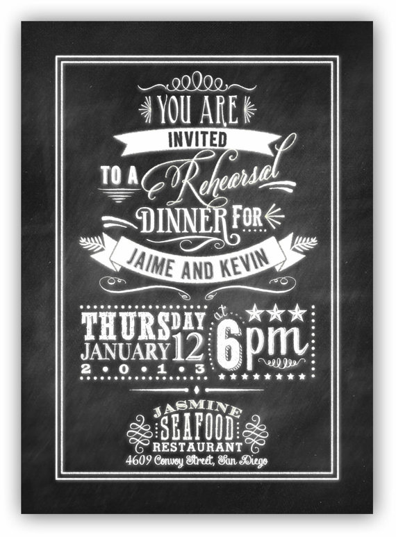 Chalkboard Art  Rehearsal Dinner Invite X Digital Design