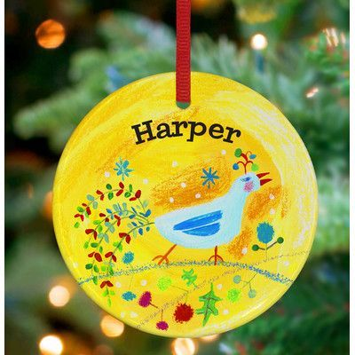 GreenBox Art Festive Feathers Personalized Ornament by Donna