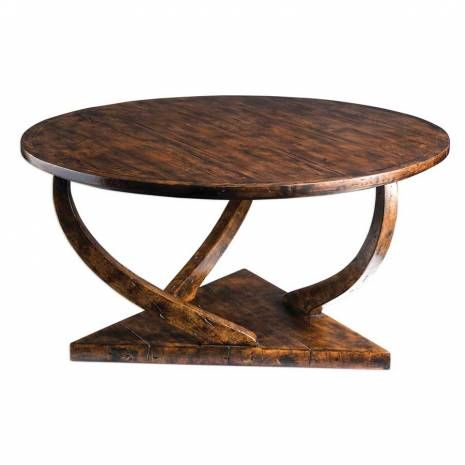 Uttermost Round Coffee Table With Triangular Base Round Coffee