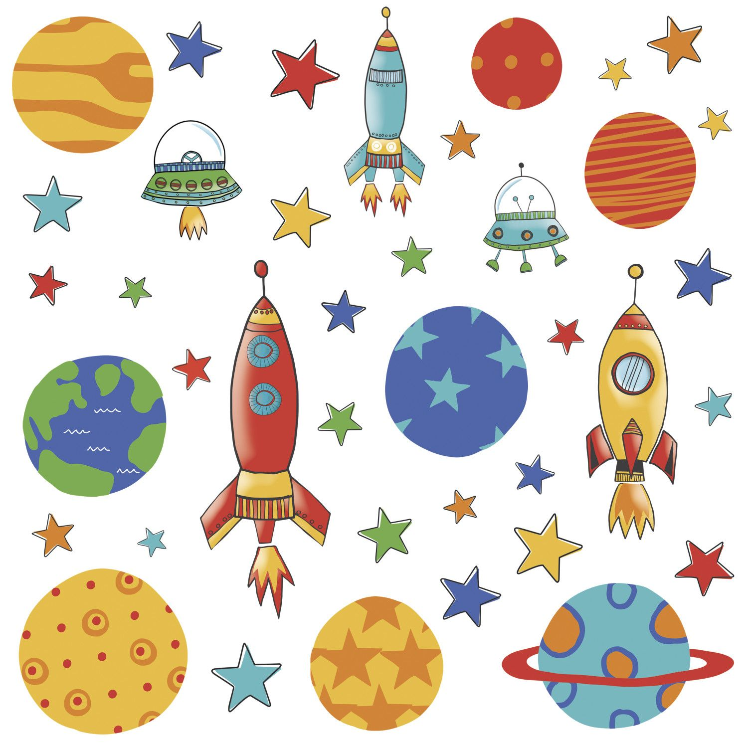 $24 Room Mates Planets And Rockets Wall Decal