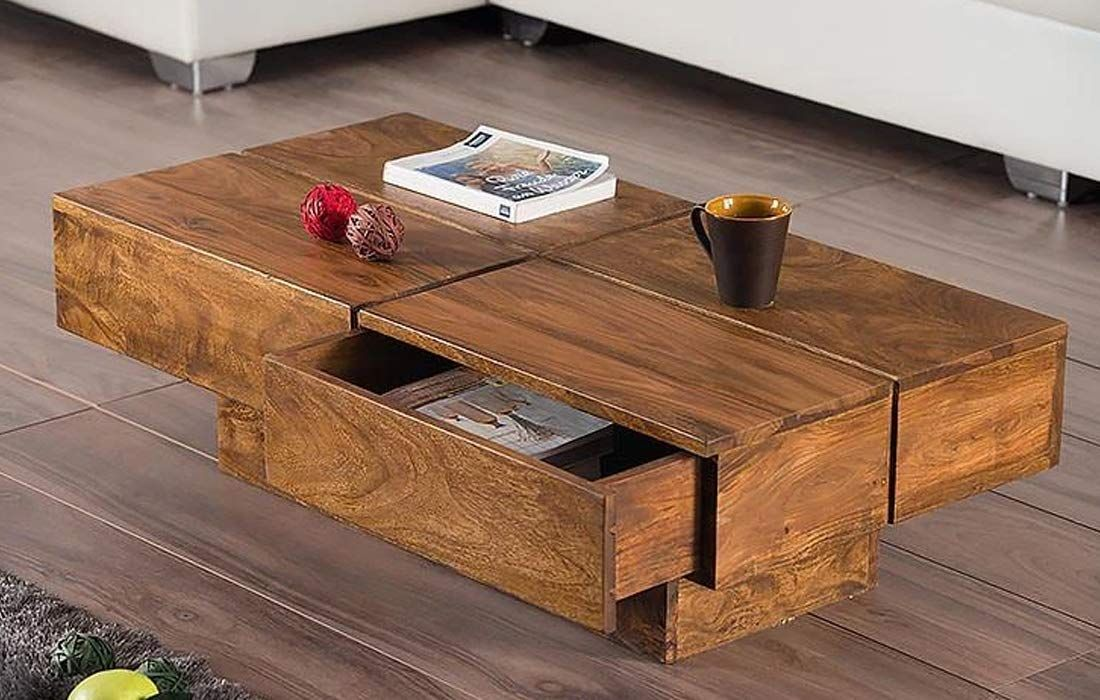 Furniturewallet Sheesham Wood Center Table For Living Room Coffee Table In Natural Finish Living Room Coffee Table Sheesham Wood Coffee Table With Drawers