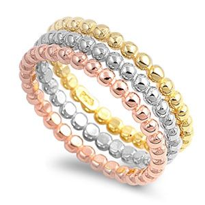 Ashley Gold Sterling Silver Bead Stackable Rings  .925 Sterling Silver 6mm width Stackable
