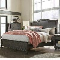 Oxford Wood Sleigh Bed In Peppercorn By Aspenhome